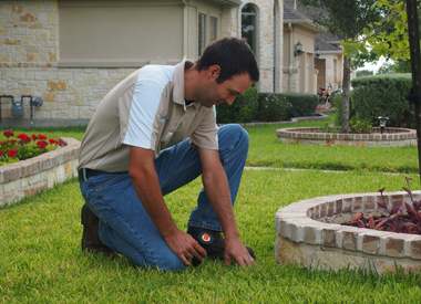 Jack, one of our Fresno sprinkler repair pros is installing a new sprinkler head
