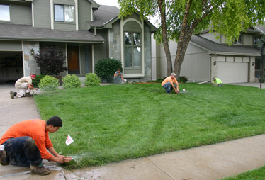 our Fresno irrigation repair team is installing a new system in Fresno, CA